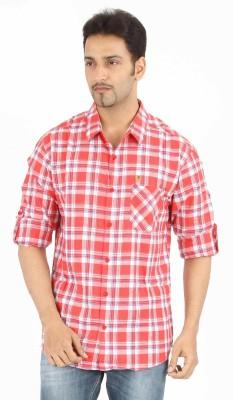 Spykar Men's Checkered Casual Red Shirt