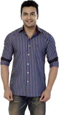 Jazzup Men's Striped Casual Purple Shirt