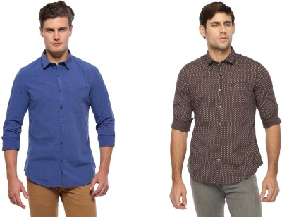 Marc N, Park Men's Printed Casual Blue, Brown Shirt
