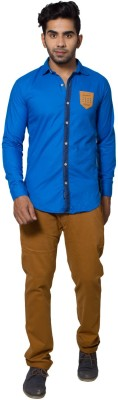 Tabser Men's Solid Casual Blue Shirt