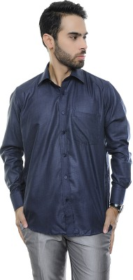 VinaraTrends Mens Solid Formal Dark Blue Shirt