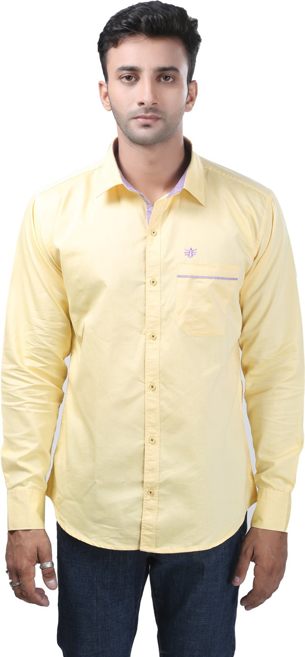 Always Club Men's Solid Casual Yellow Shirt