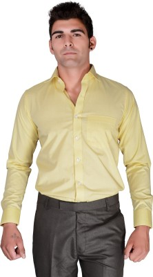 BlackLilly Men's Solid Casual Yellow Shirt