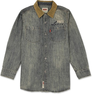 Levis Kids Boy,s Solid Casual Grey Shirt