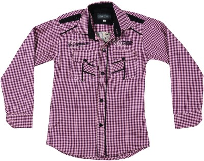 Buds N Blossoms Boy's Checkered Casual Pink, Black Shirt