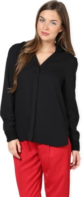 Pera Doce Women,s Solid Casual Black Shirt