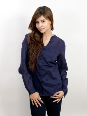 Pique Republic Women's Solid Formal Dark Blue Shirt