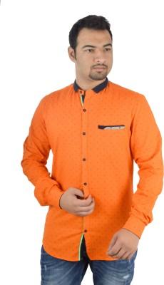 MTN Men's Printed Casual Orange Shirt