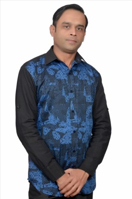 Adam In Style Men's Printed Casual Blue, Black Shirt