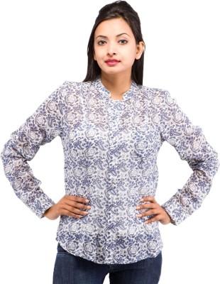 8dc1d21a724 Goodwill Impex Womens Floral Print Formal Blue Shirt