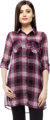 Stylestone Women's Checkered Casual Purple, Black Shirt