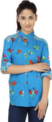 India Inc Women's Floral Print Casual Blue, Red Shirt