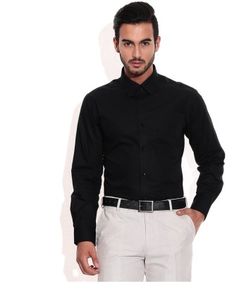 SG Apparels Men's Solid Formal Black Shirt
