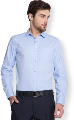 Black Coffee Men's Solid Formal Blue Shirt