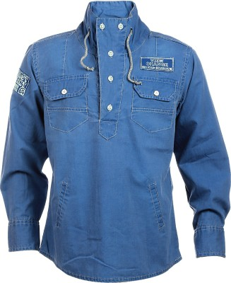 Lumber Boy Boy,s Self Design Casual Blue Shirt
