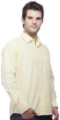 Vkg Men's Solid Formal Yellow Shirt