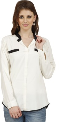 Raaziba Women's Solid Casual White Shirt