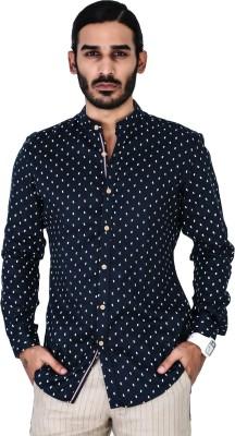 Mr Button Men's Printed Casual Linen Blue Shirt