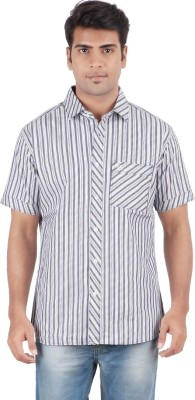 Anytime Men's Striped Casual Grey, White Shirt