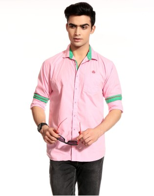 Cotton Crus Men,s Solid Casual Pink Shirt