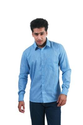 Frissk Men's Checkered Formal Light Blue, Blue Shirt