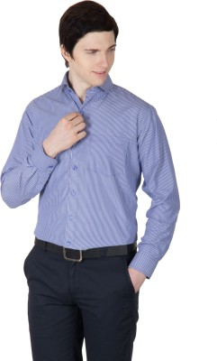 Robin Rider Men's Striped Casual Blue Shirt