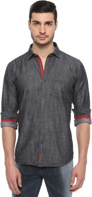 FERROUS Men's Solid Casual Black Shirt