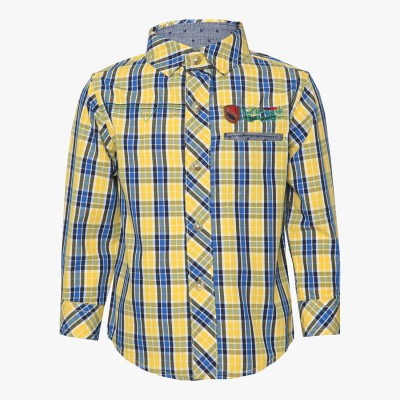 Tales & Stories Boy's Checkered Casual Yellow Shirt