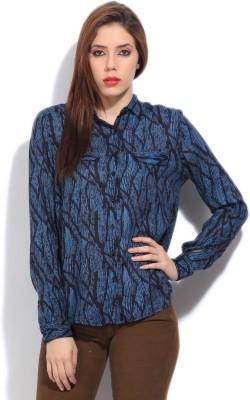 Arrow Women's Printed Formal Black, Blue Shirt