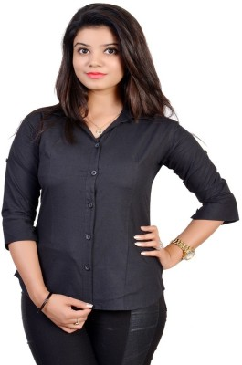 Jazzy Ben Women,s Solid Formal Black Shirt
