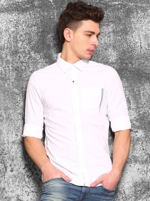 WROGN Men's Solid Casual White Shirt