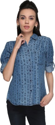 Again? Vintage Women's Printed Casual Blue Shirt