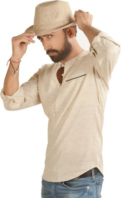Just Differ Men's Solid Casual Beige Shirt
