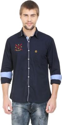 BlackRooster Men's Solid Casual Blue Shirt
