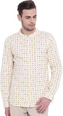 Chumbak Men's Printed Casual Beige Shirt