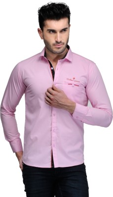 Finder Zone Men's Solid Casual Pink Shirt
