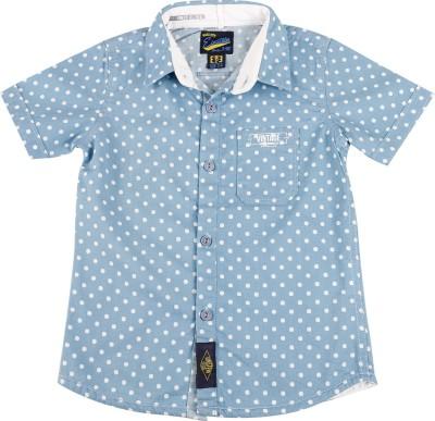 Einstein Boy's Polka Print Casual Blue Shirt