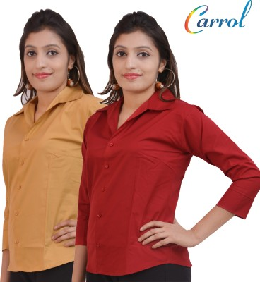 carrol Women,s, Girl's Solid Formal, Casual Brown, Maroon Shirt