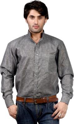 Hugo Chavez Men's Solid Formal Linen Grey Shirt
