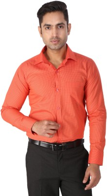 Regza Men's Checkered Formal Red Shirt