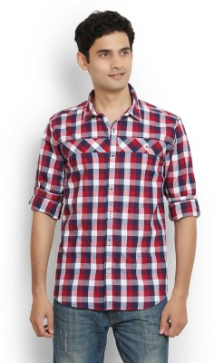 Orange Valley Men's Checkered Casual Red Shirt
