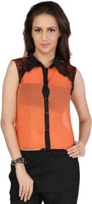 Iamyou Women's Solid Casual Orange Shirt