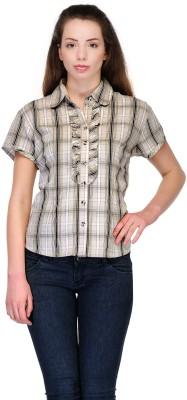 Belle Women's Checkered Casual Grey Shirt