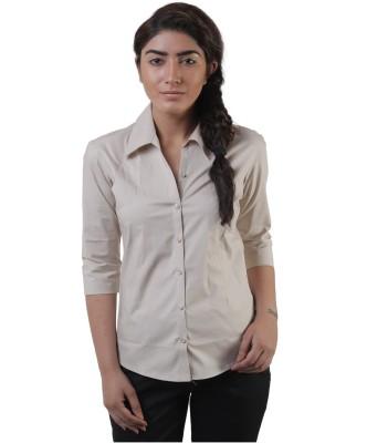 Lee Marc Women's Solid Formal Grey Shirt