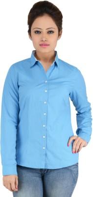 Elle Et Lui Women's Striped Formal Blue Shirt
