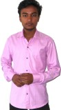 silvercuffs Men's Solid Casual Pink Shir...