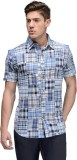 Vicbono Men's Printed Casual Blue Shirt