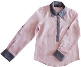 IDK Boys Solid Casual Linen Pink Shirt