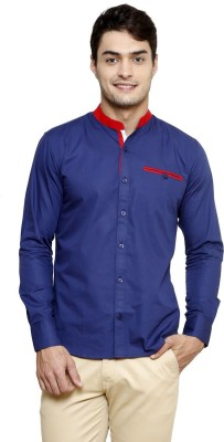 Smile By Nature Men's Solid Casual Blue Shirt