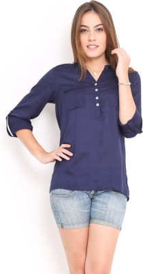 Trend Arrest Womens Solid Casual Blue Shirt